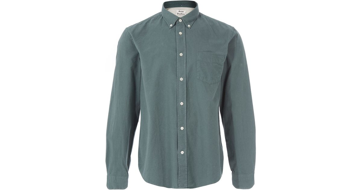Acne Light Green Button Down Shirt in Green for Men | Lyst