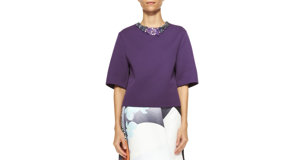 af768acf98f411 3.1 Phillip Lim Short-Sleeve Shirt With Jeweled Neckline in Purple - Lyst