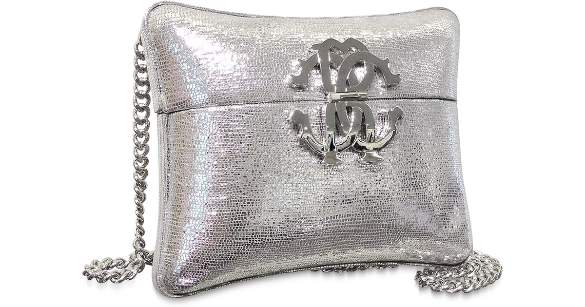 db447552587 Lyst - Roberto Cavalli Silver Laminated Leather Minaudiere Pillow Clutch W chain  Strap in Metallic
