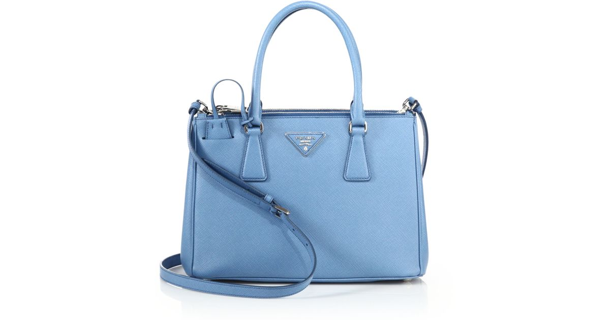 Prada Saffiano Lux Small Double-zip Tote in Blue | Lyst