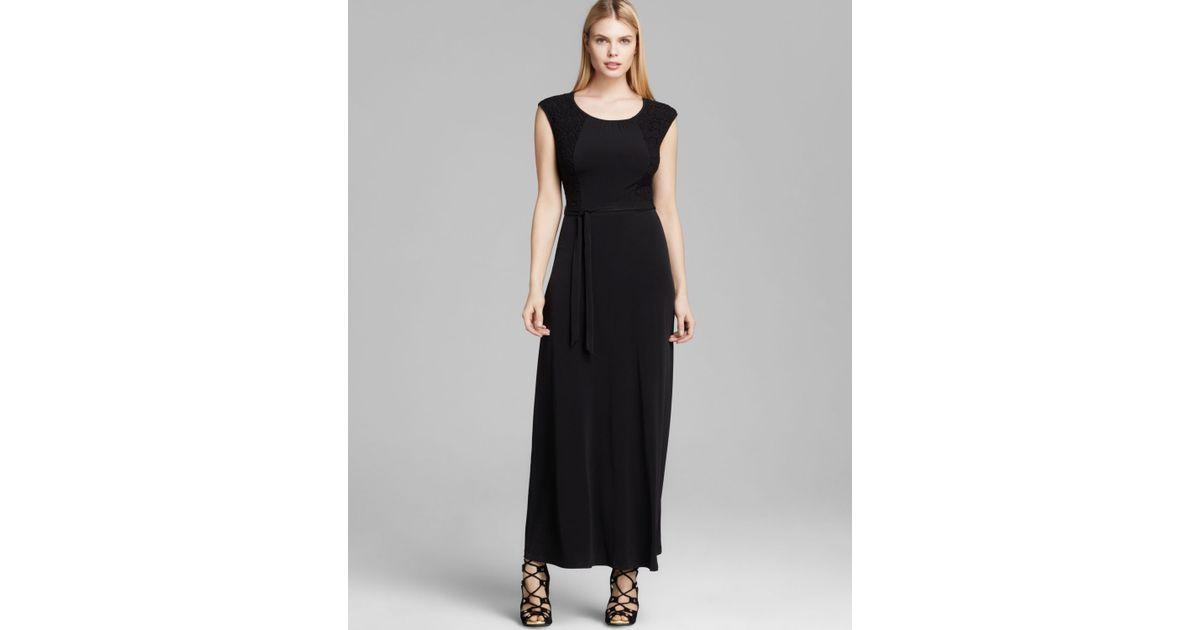 2910d705f1 Lyst - Calvin Klein Cap Sleeve Maxi Dress in Black