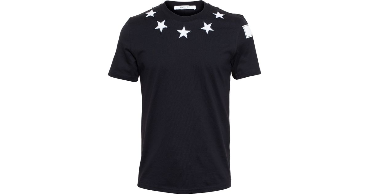 Lyst givenchy star t shirt in black for men for Givenchy 5 star shirt