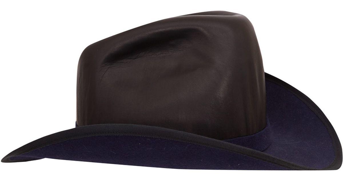 0019e5c044085 ... uk lyst albertus swanepoel navy shane leather and felt cowboy hat in  blue 1c06f fe341
