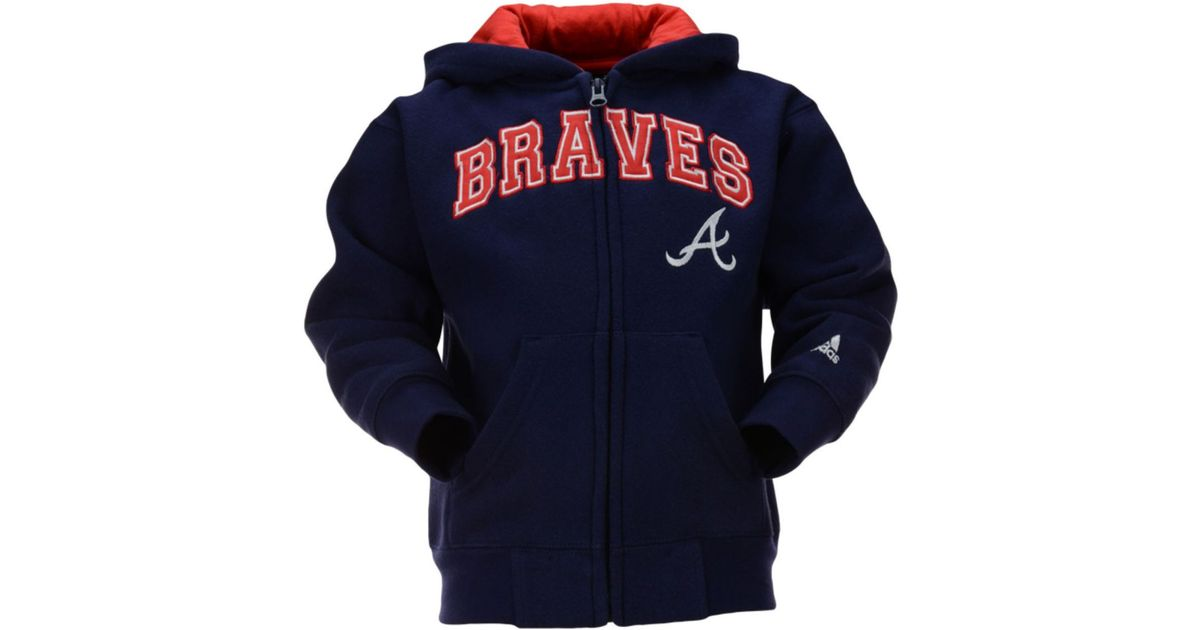 finest selection b7fbf 37490 Adidas - Blue Little Kids Atlanta Braves Fullzip Embroidered Hoodie for Men  - Lyst