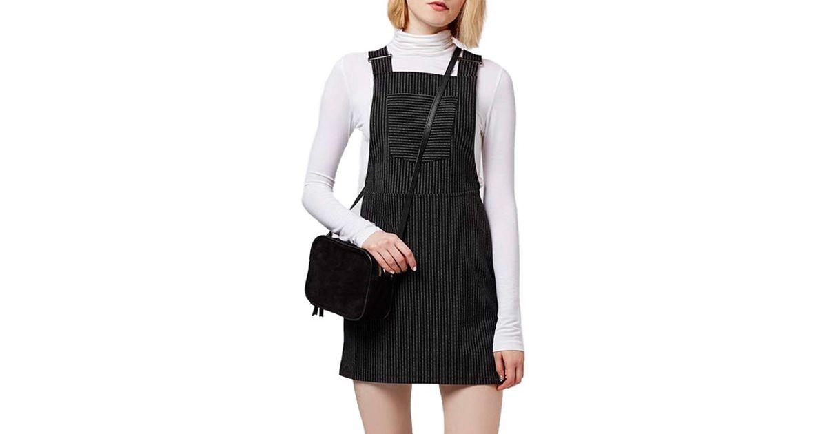 62a3911d6e9 Lyst - TOPSHOP Pinstripe Pinafore Dress in Black