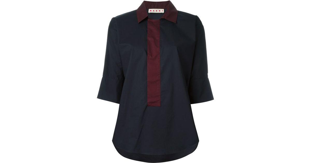 Marni three quarter length sleeve shirt in red blue for Three quarter length shirt