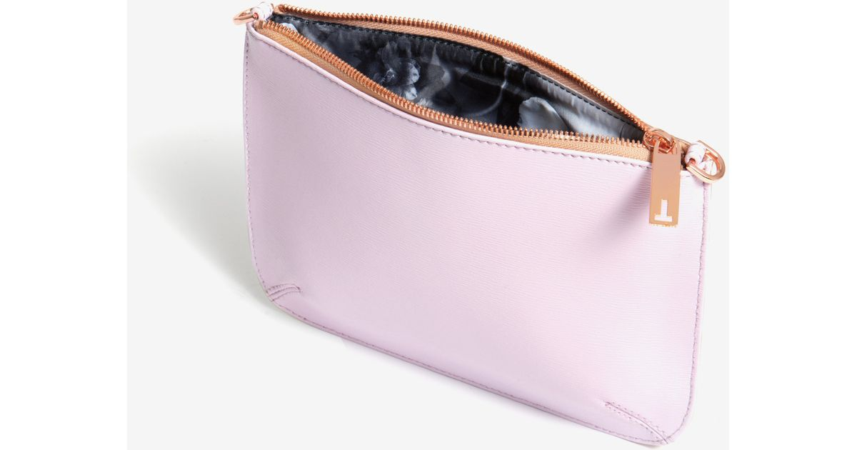 3652189855 Ted Baker Colour Block Leather Clutch Bag in Pink - Lyst