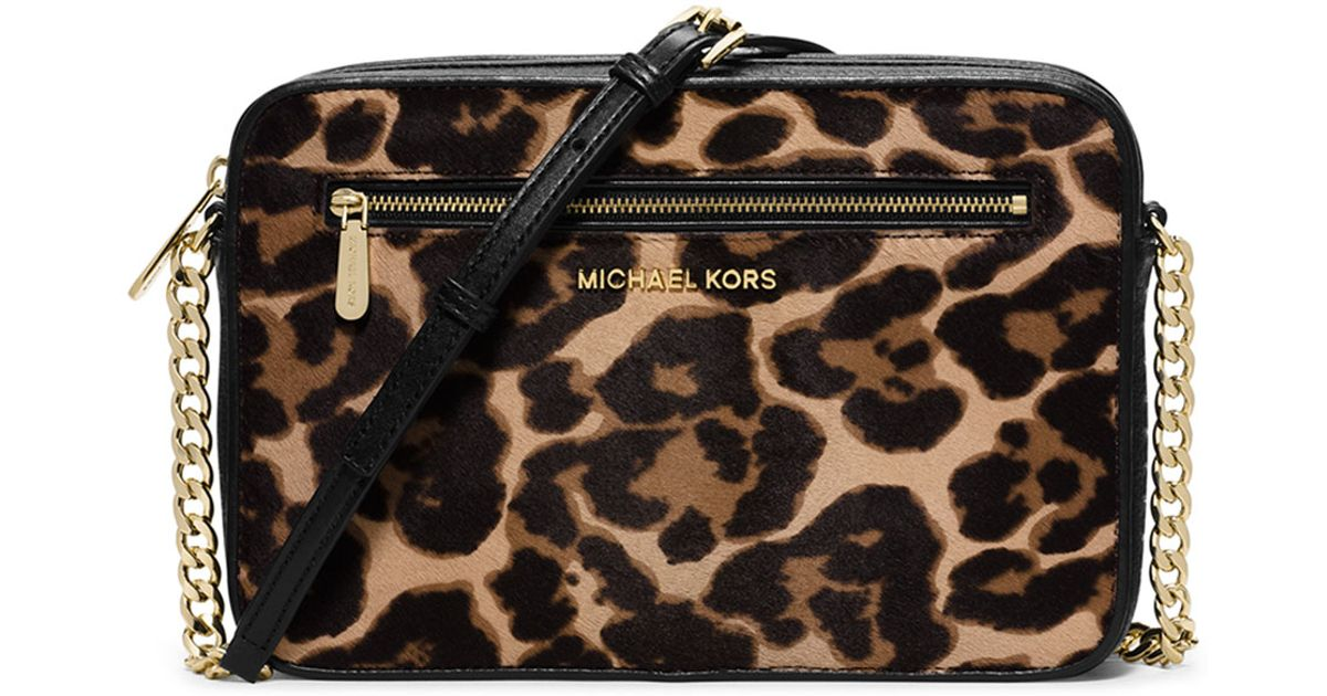 Lyst Michael Kors Jet Set Large Cheetah Print Cross Body Bag In Brown