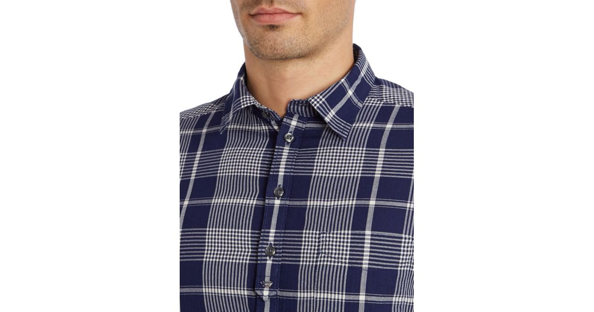 Lyst Diesel Check Long Sleeve Light Flannel Shirt In