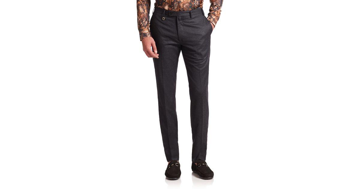 Ferragamo Flannel Flat-front Pants in Black for Men - Lyst