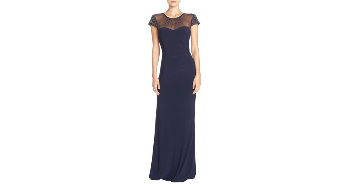 9acd7da6d64 Lyst - Vince Camuto Beaded Cap Sleeve Gown in Blue