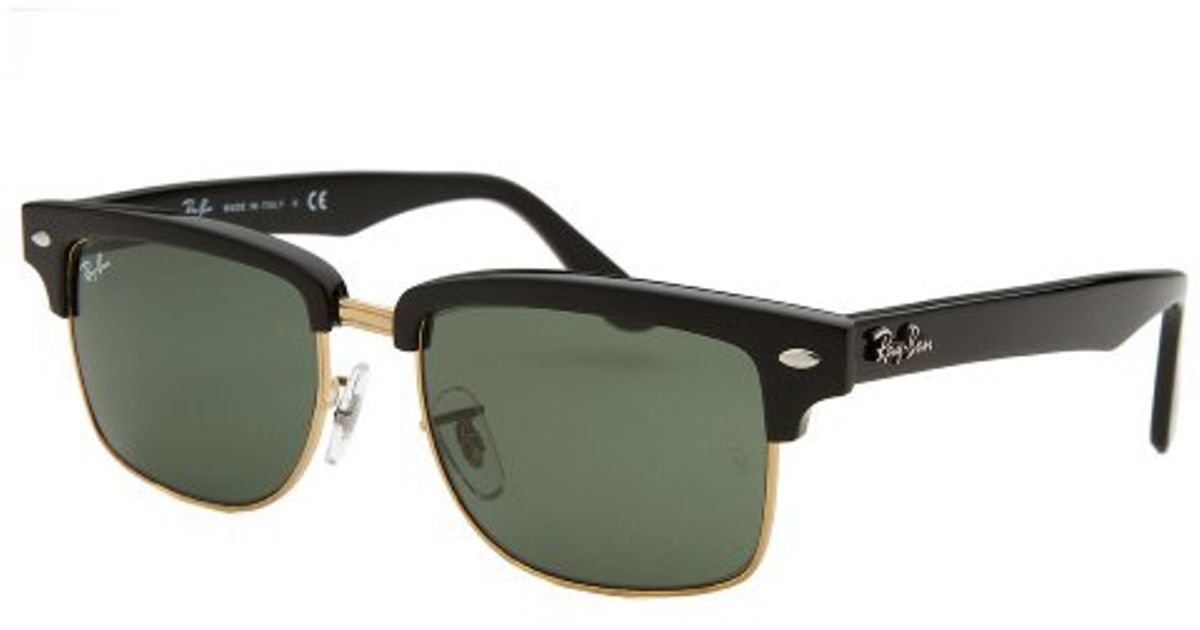 2d0223c74ea ... get lyst ray ban clubmaster square black and gold tone sunglasses in  black for men 04b9c