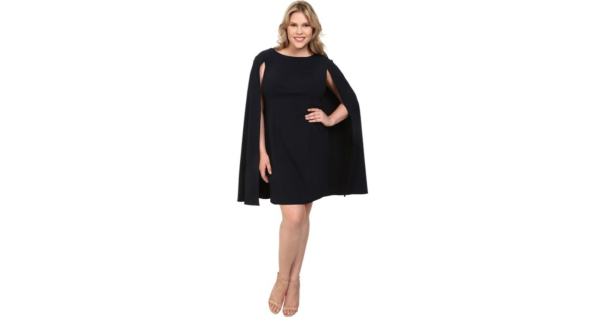 948aa16d Adrianna Papell Plus Size Structured Cape Sheath Dress in Blue - Lyst
