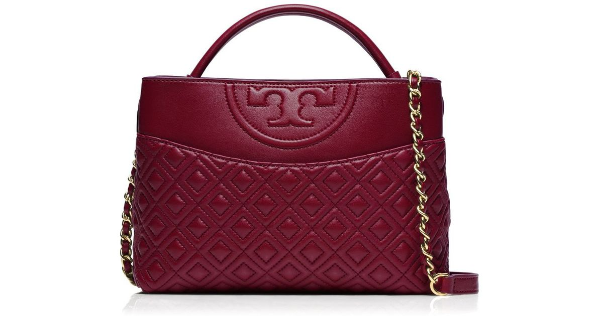 91eb763ef356 ... convertible small leather shoulder bag new mink by tory burch 5c446  ac283 canada lyst tory burch fleming mini satchel in red 9edc3 a8def