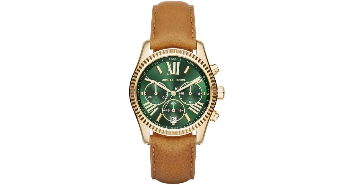 957698cca2b7 Lyst - Michael Kors 38mm Lexington Leather-strap Watch in Brown