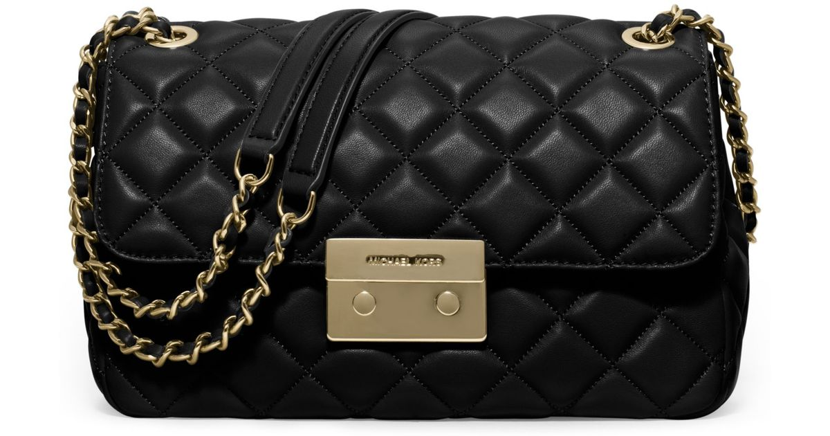 2d6a250df48e Michael kors Sloan Large Quilted-leather Shoulder Bag in Black | Lyst
