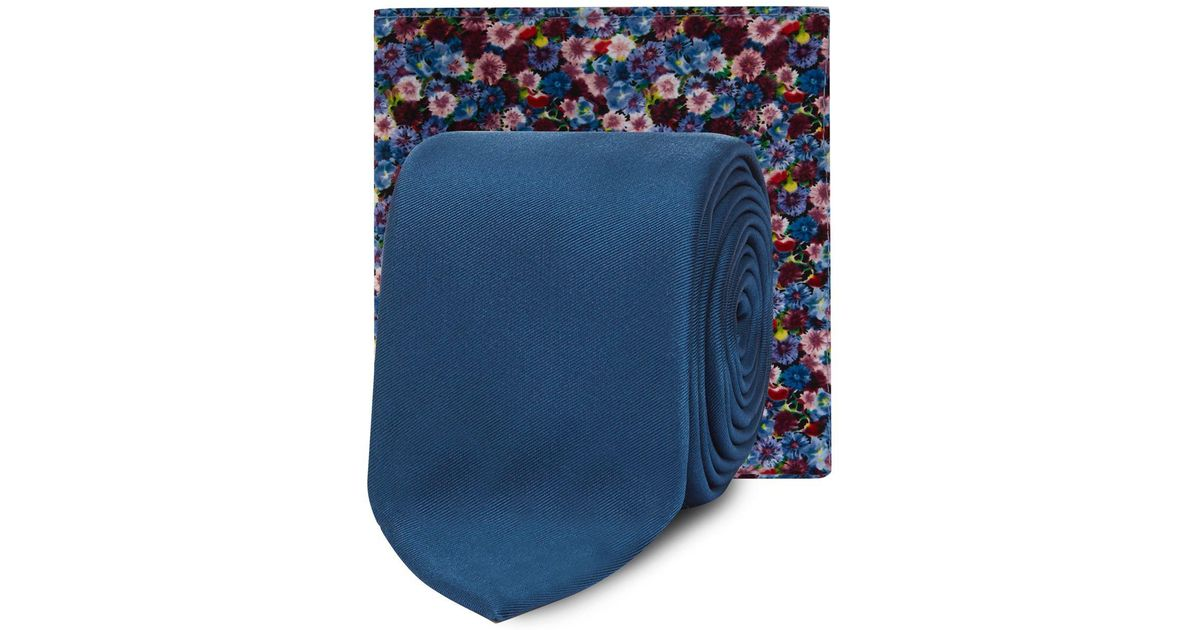 46a0a40e0837 Red Herring Blue Skinny Tie And Floral Pocket Square in Blue for Men - Lyst