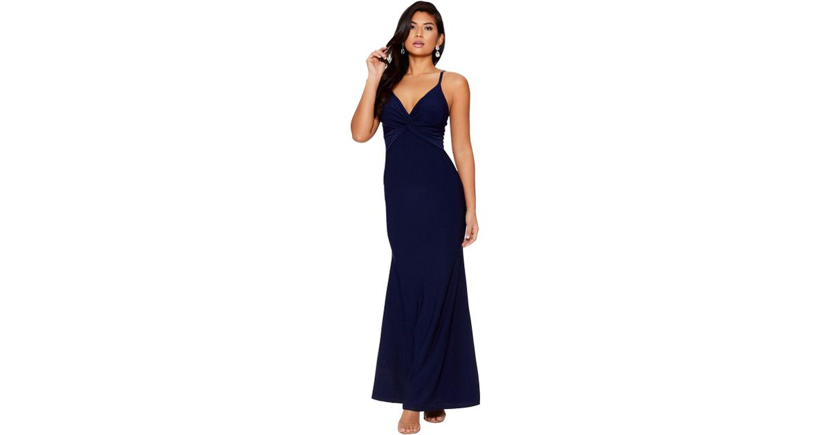 26c0b13c81d Quiz Navy Knot Front Fishtail Maxi Dress in Blue - Lyst