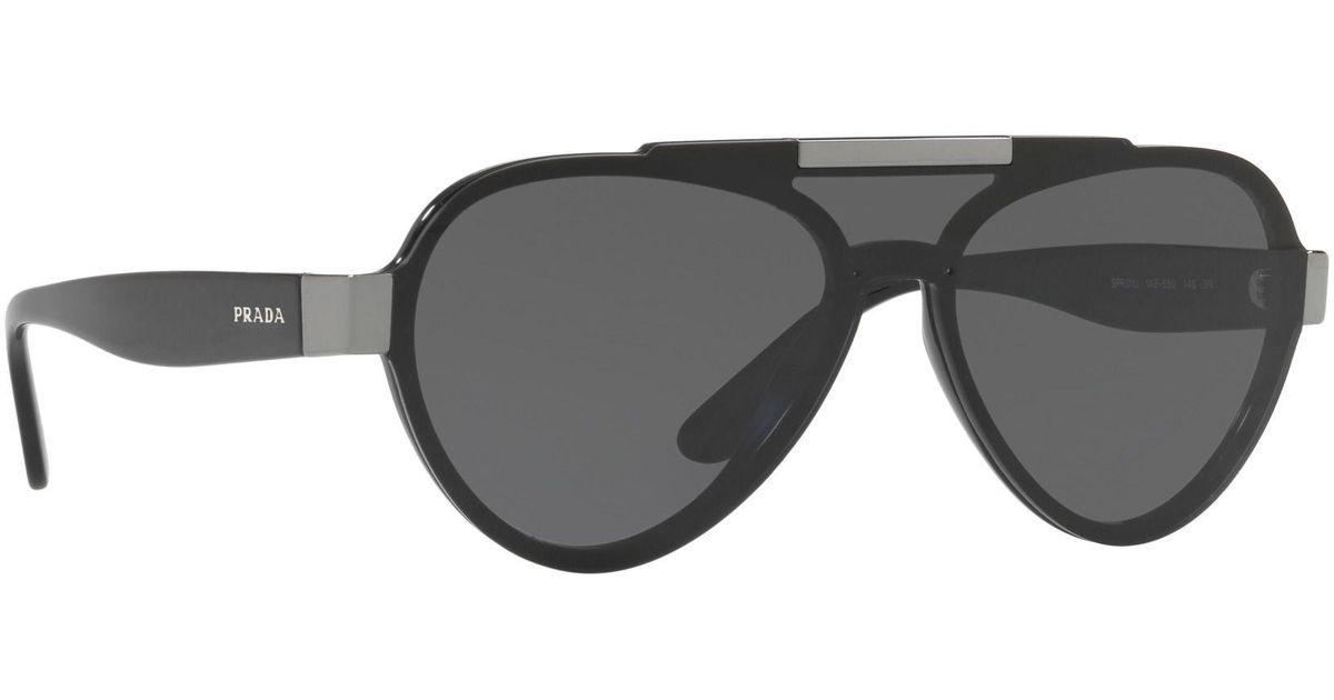 8415e0fae8 ... australia prada black pr 01us pilot sunglasses in black for men lyst  ae51c 1260f