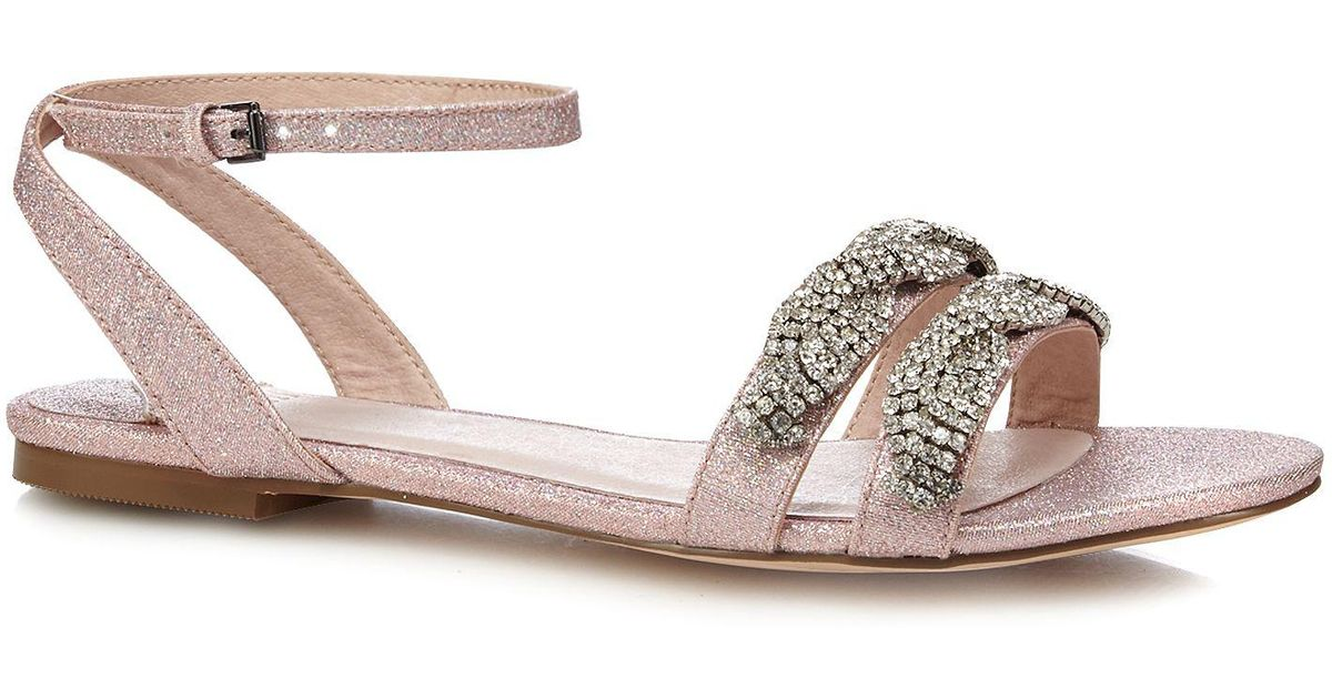 7bf33ad52ff Faith Pink Glitter  jenga  Comfort Fit Ankle Strap Sandals in Pink - Lyst