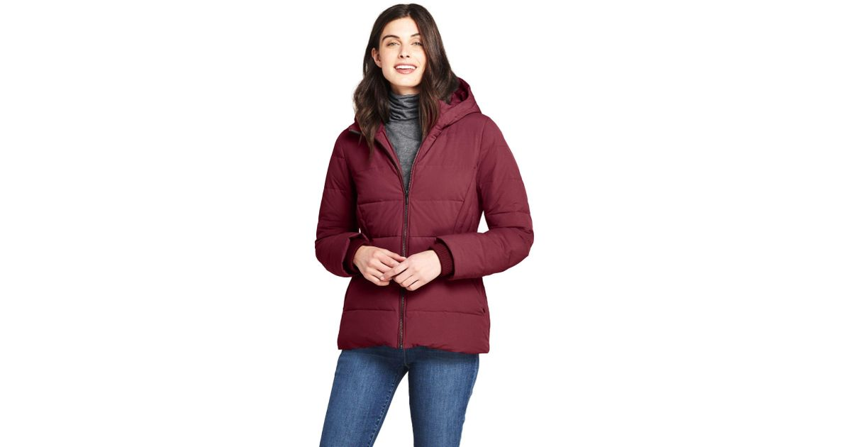 55c2d2582f3c1 Lands  End Red Plus Hooded Faux Fur Lined Down Jacket With Stretch in Red -  Save 42% - Lyst