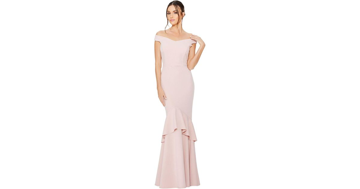 61da73edcffa Quiz Blush Bardot Tier Frill Fishtail Maxi Dress in Pink - Lyst