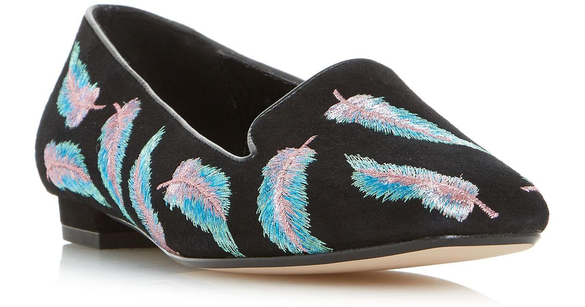 4961c612a Dune Black  geathers  Embroidered Feather Slipper Cut Loafer in Black - Lyst