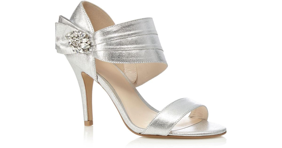 7764c79e241 Jenny Packham Silver  polly  High Stiletto Heel Ankle Strap Sandals in  Metallic - Lyst