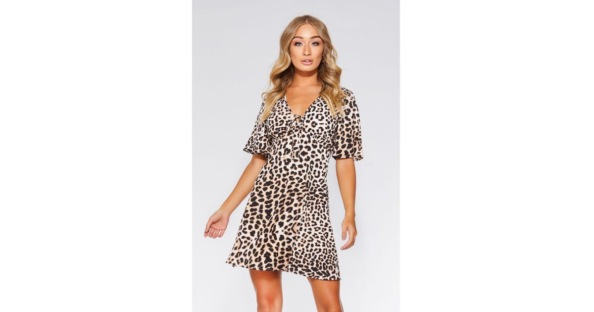 Quiz Stone And Black Leopard Print Swing Dress in Natural - Lyst 33a02fdf8