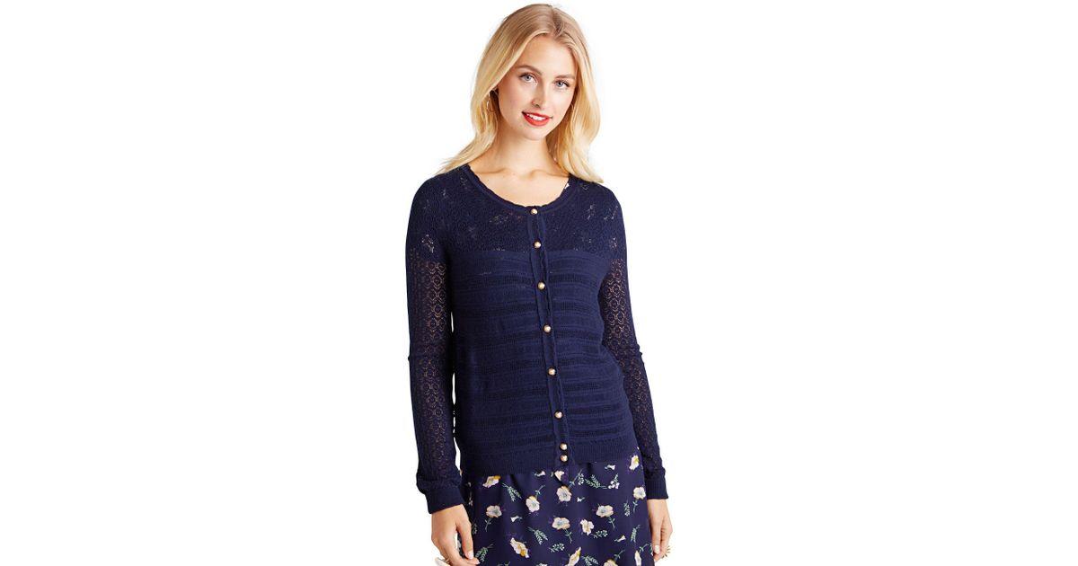 805fab564da Yumi  Navy Ripple Stitch Lace Cardigan in Blue - Lyst