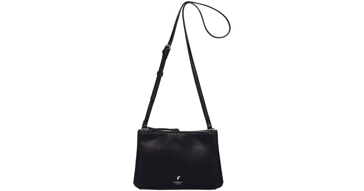 687d9922a5 Fiorelli Black  daisy  Double Zip Crossbody Bag in Black - Lyst