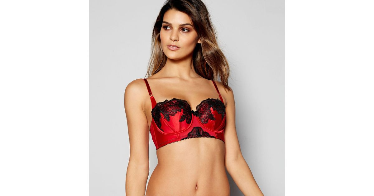 b9d029233 Ann Summers Red  alissa  Floral Lace Underwired Padded Balcony Bra in Red -  Lyst