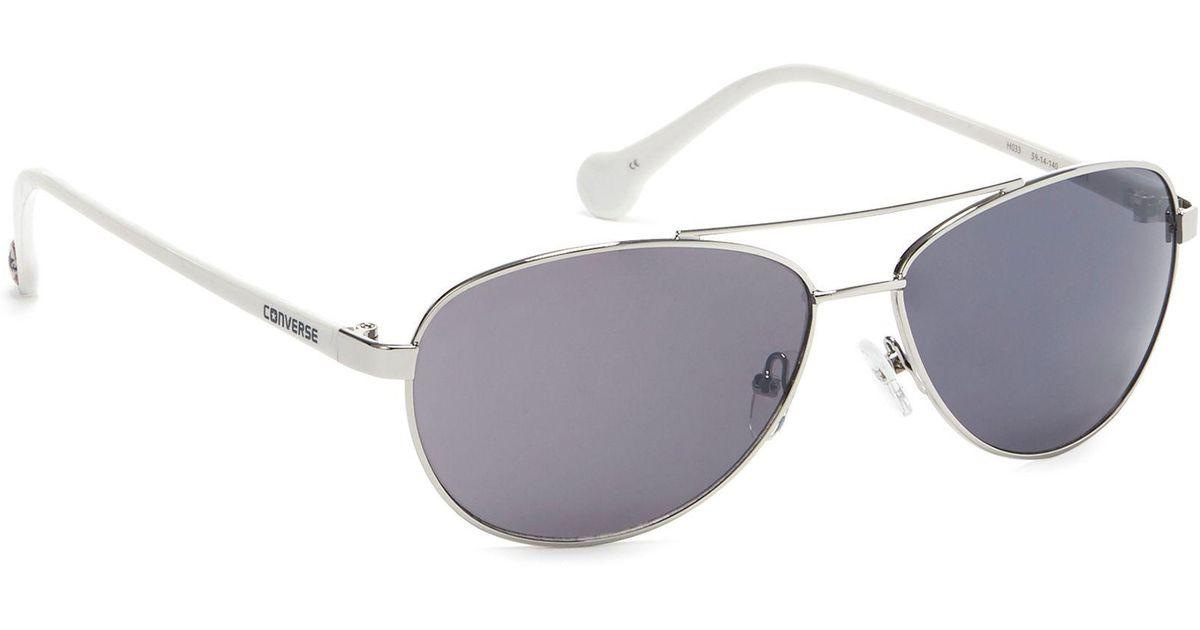 b6d5c692a0853 Converse Silver Metal Aviator Sunglasses in Metallic for Men - Lyst