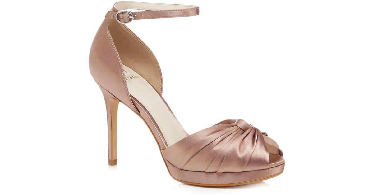 471a5dcc731 Jenny Packham Light Pink Satin  prima  High Stiletto Heel Ankle Strap  Sandals in Pink - Lyst