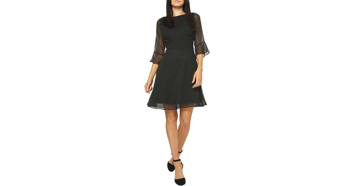 585d0f8fd08 Dorothy Perkins Billie   Blossom Black Spotted Flute Sleeve Dress in Black  - Lyst