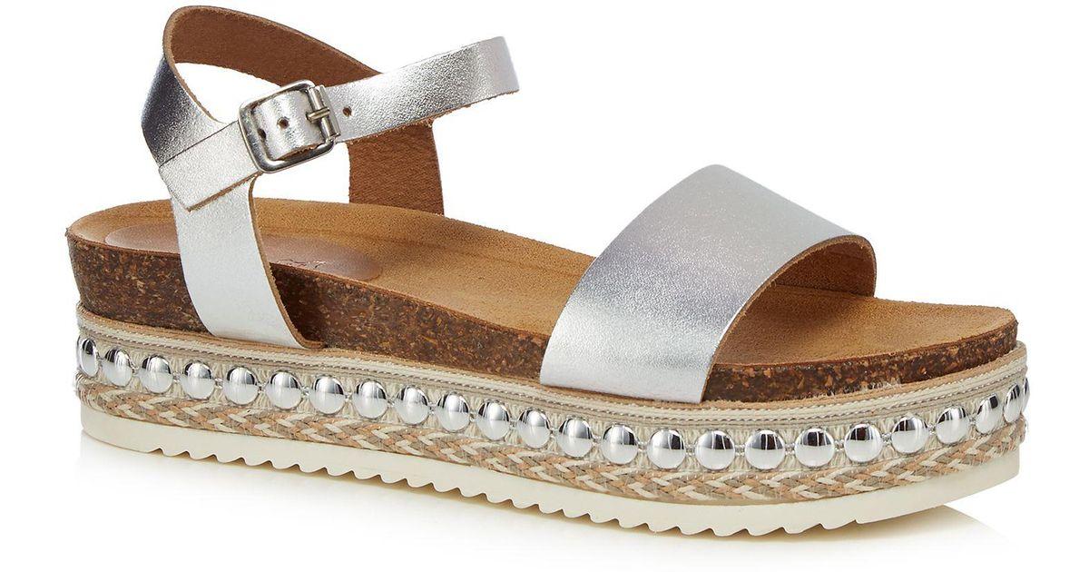8c493b1b0354 Faith Silver Leather  joss  Mid Platform Ankle Strap Sandals in Metallic -  Lyst