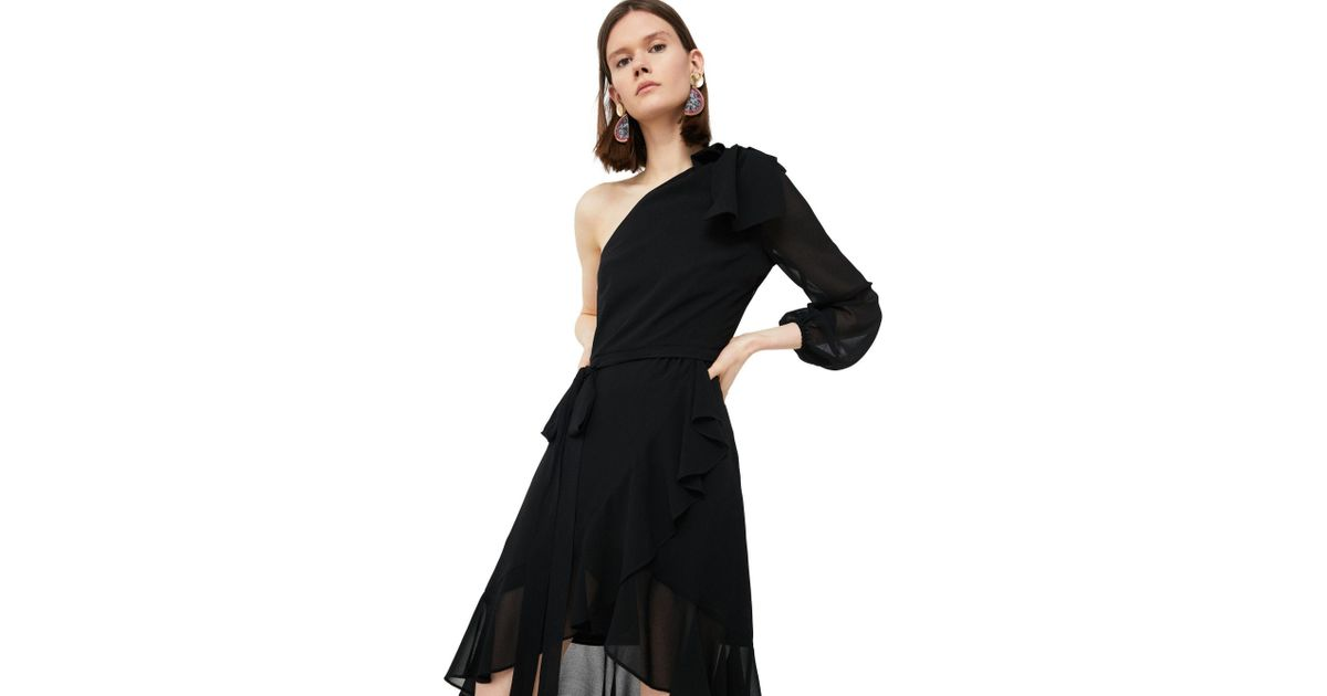 7dfa99bd5fa5 Mango Black  pony  Asymmetrical Ruffle Dress in Black - Lyst