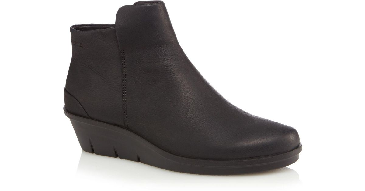 49224b78f66 Ecco Black Leather  skyler  Mid Wedge Heel Ankle Boots in Black - Lyst