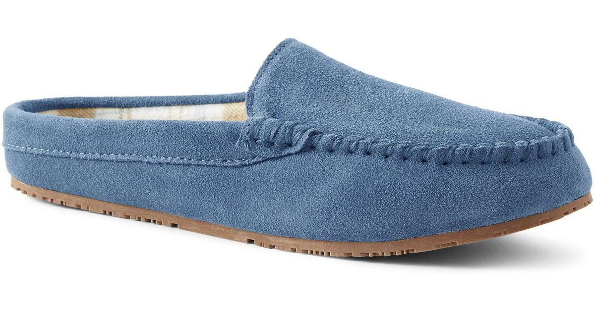 7c6b58b19ab8f Lands' End Blue Suede Moccasin Mule Slippers in Blue - Lyst