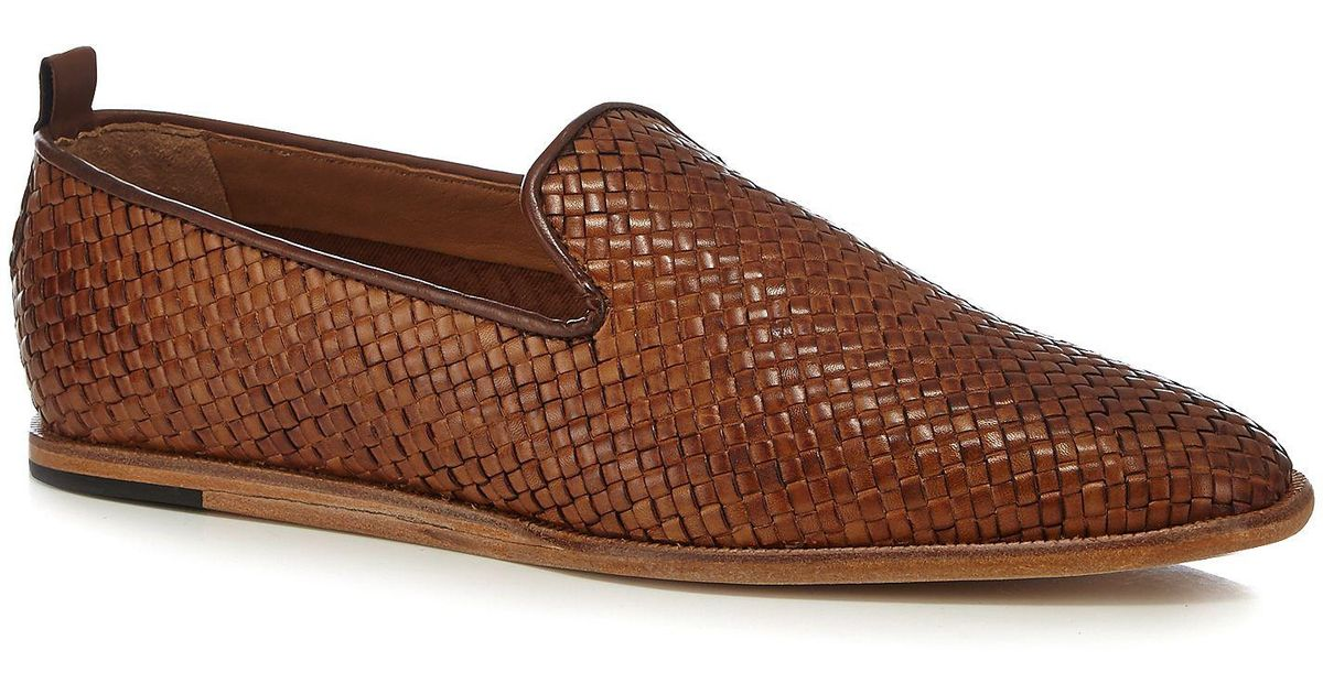 d57b63dd352 H By Hudson Tan Leather  ipanema  Woven Slip-on Shoes in Brown for Men -  Lyst