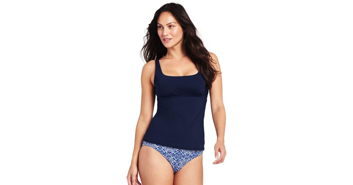 f36aaa3101602 Lands' End Blue Mastectomy Beach Living Square Neck Tankini Top in Blue -  Lyst