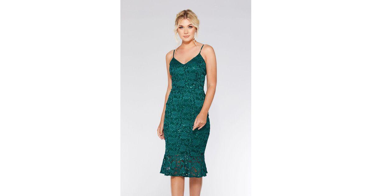 91292774f574 Quiz Bottle Green Lace Sequin Frill Hem Midi Dress in Green - Lyst