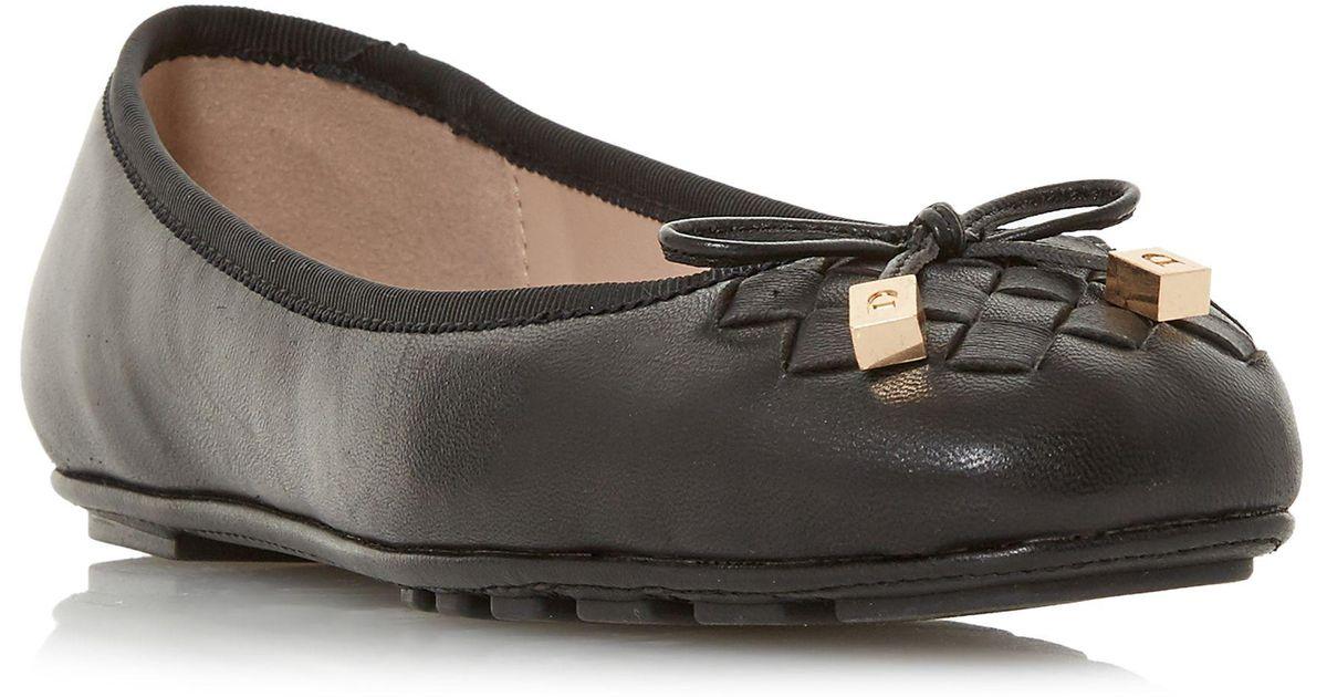 6e04dc0ea Dune Black Leather 'harland' Ballet Pumps in Black - Lyst