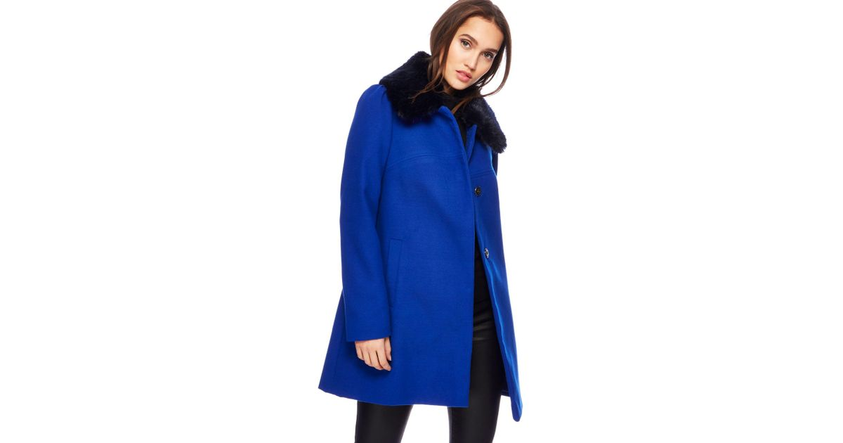 62f45804627fc Red Herring Bright Blue Faux Fur Collar Dolly Coat in Blue - Lyst