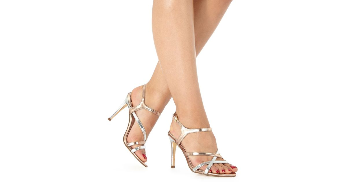 bf7f00d3e16 Faith Rose Gold  lotus  High Sandals in Pink - Lyst