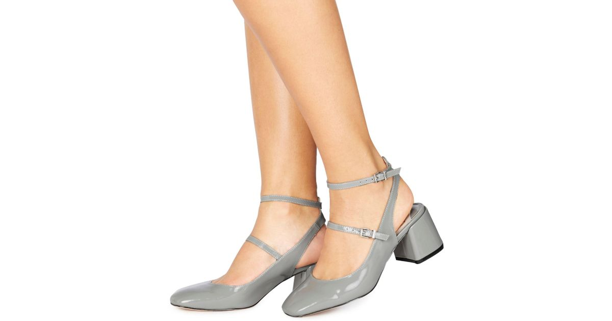 78db9bc7e31 Faith Grey Patent  cersei  Mid Block Heel Court Shoes in Gray - Lyst