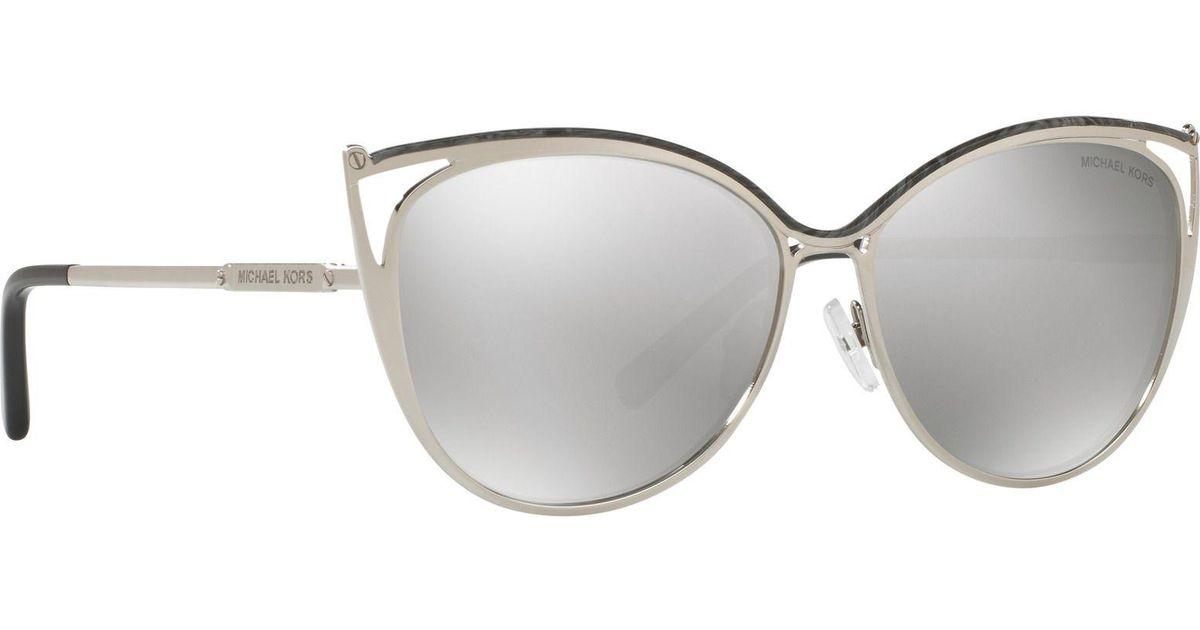 114c4274db2db Michael Kors Grey Marble  ina   Cat Eye Mk1020 Sunglasses in Metallic - Lyst