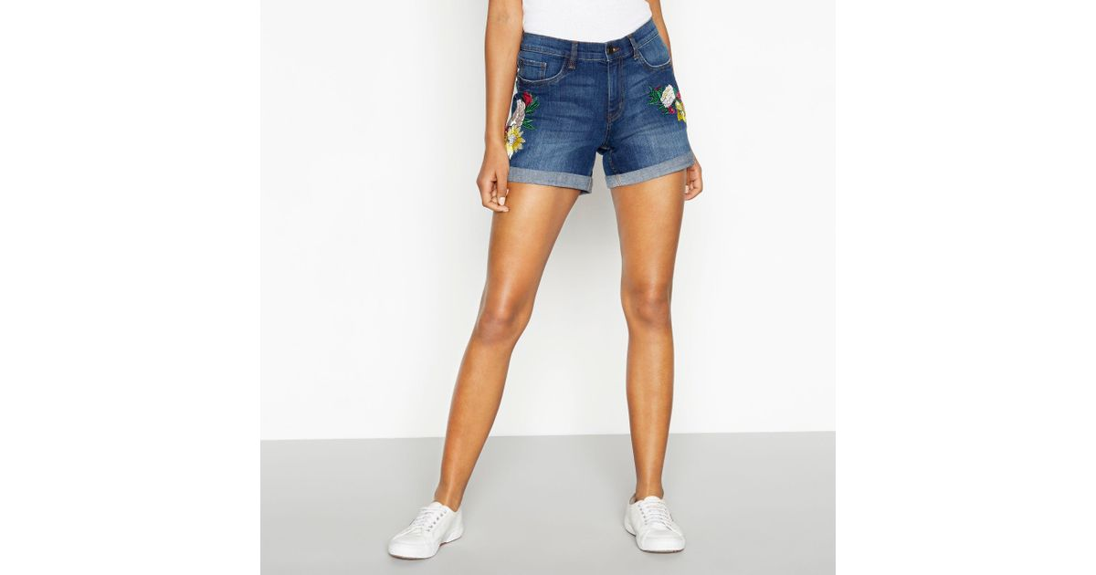 b2679e40ce Red Herring Dark Blue Floral Embroidered Denim Shorts in Blue - Lyst