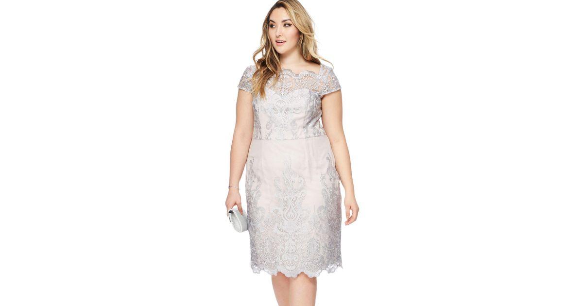 Grey Knee Length Lace Dress