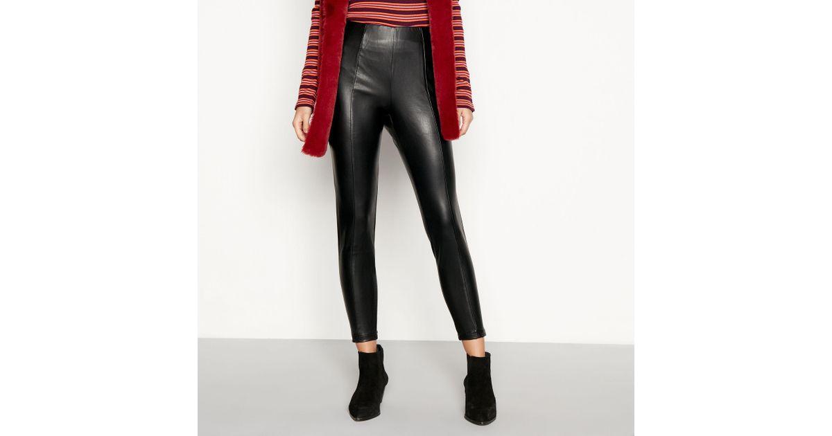 f68d1af2cdad0 Red Herring Black Leather Look Leggings in Black - Lyst